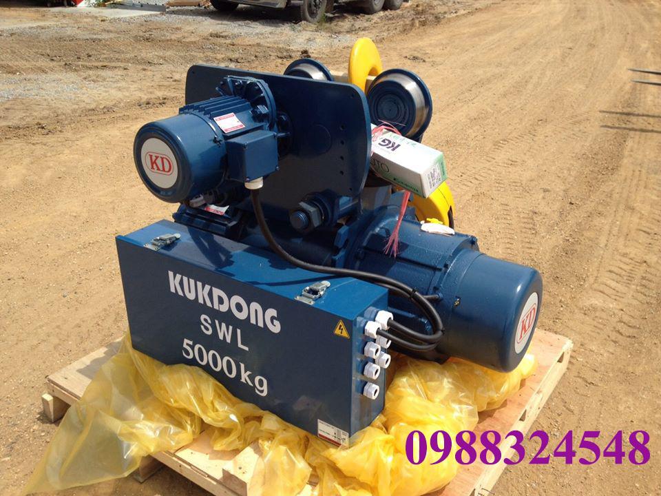 Pa lăng điện cáp Kukdong dầm đơn 5 tấn