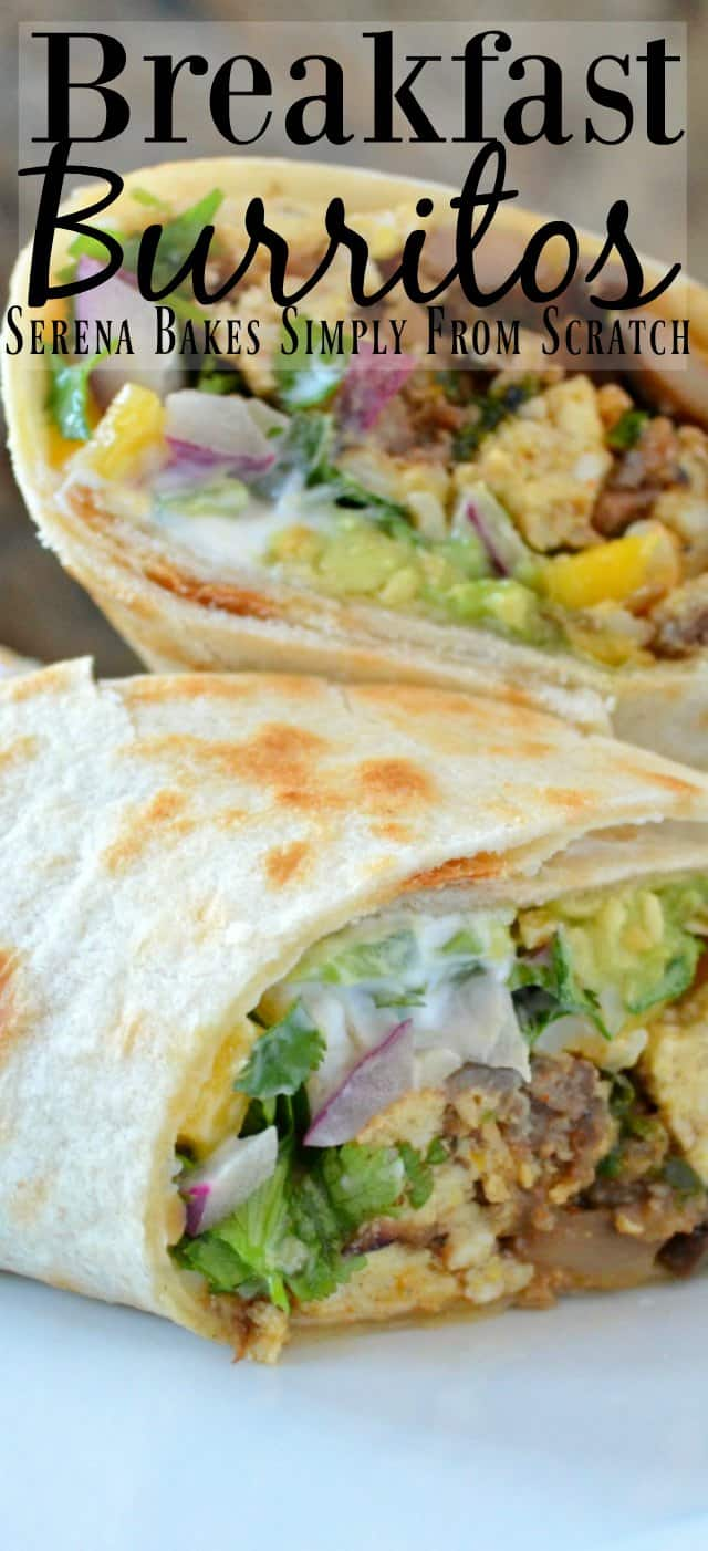 Easy Breakfast Burrito Recipe with sausage, egg and veggies are a favorite easy grab and go breakfast from Serena Bakes Simply From Scratch.