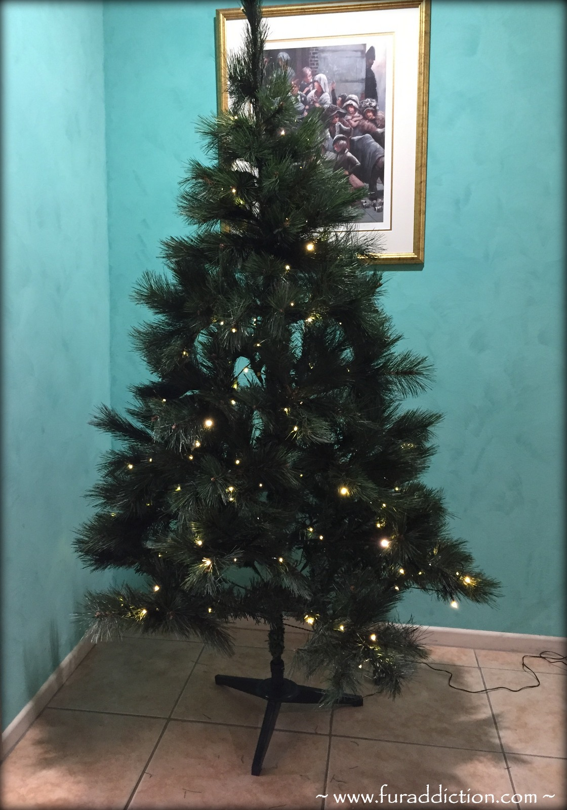 so this is how our very basic kmart christmas tree looks without the skirt its not so bad but there are a few cables dangling below and the trees feet - Teal Christmas Tree Skirt