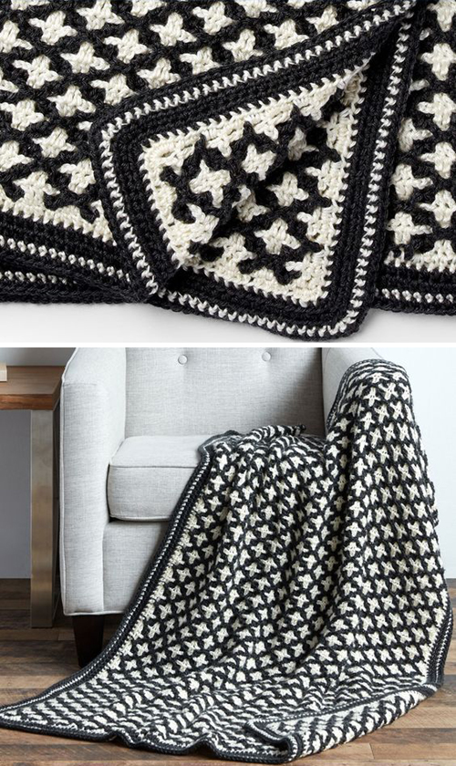 Reversible Geometric Blanket - Free Pattern