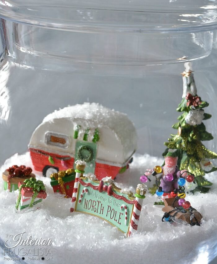 Retro North Pole Christmas Diorama In A Jar Close Up