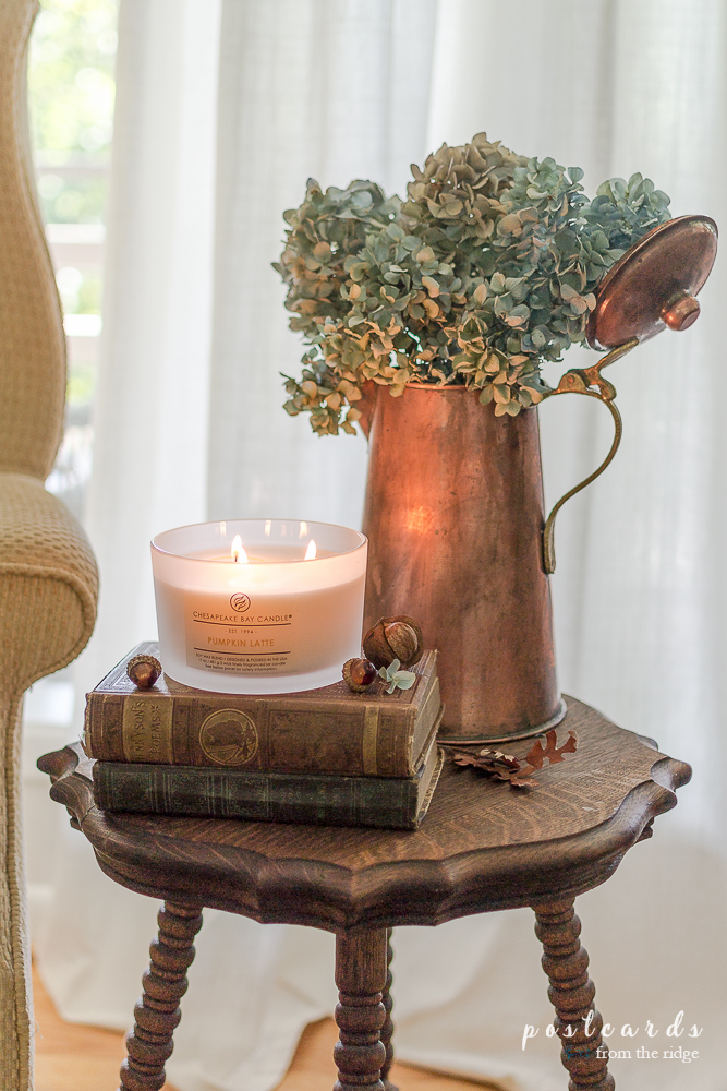 Chesapeake Bay Candle Pumpkin Latte Candle with Copper Vase and dried hydrangeas