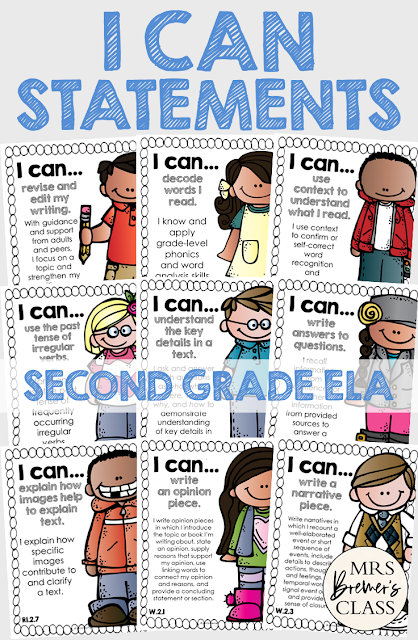 I Can Statements Common Core Posters for Second Grade ELA, featuring Melonheadz Kidlettes. Display in the classroom on a focus board or objective board for student reference and learning. An educational display for use in Second Grade. Hang as you teach a new learning standard. No prep- just print and go!