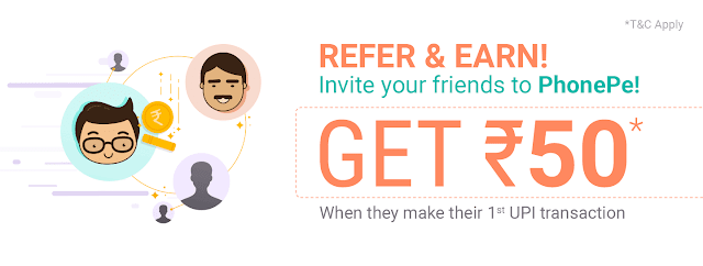 Phone Pe Refer and earn 50rs Per Referal +125 rs for transaction