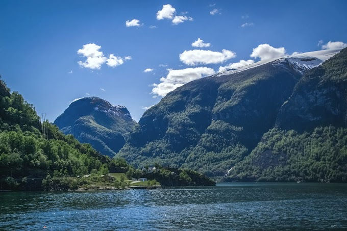 Nærøyfjord in Aurland in early summer, Norway