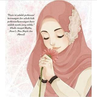 gambar kartun muslimah imut membawa bunga