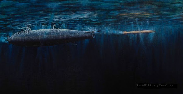 Submarino Peral disparando torpedo