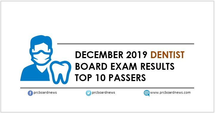 RESULTS: December 2019 Dentist board exam top 10 passers