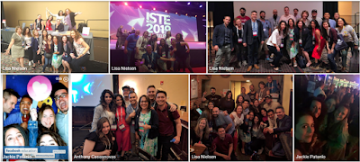A collage of group photos of the educators who attended ISTE together.