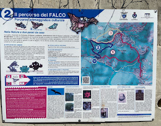 Sign explaining trails around Monte Colletto, Olera.