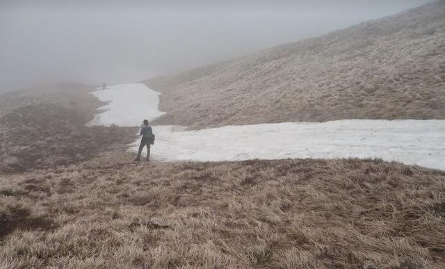 La via di vetta con la neve