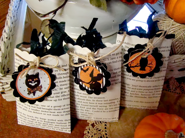Spooky Halloween Book Page Crafts - Book Page Treat Bags
