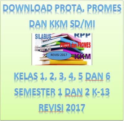 Download Prota, Promes dan KKM SD/MI Kelas 1, 2, 3, 4, 5 dan 6 Semester 1 dan 2 K-13 Revisi 2017
