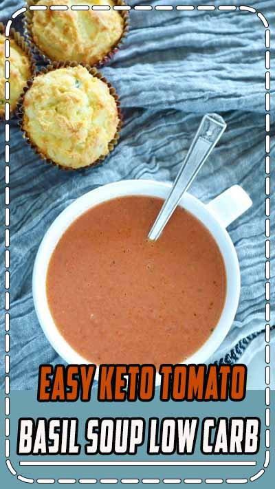 Easy Keto Tomato Basil Soup. #ibih #lowcarb #keto #ketodiet #ketorecipes #glutenfree #recipes #tomato #soup #healthy