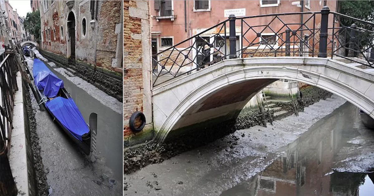 Venice's Canals Are Almost Completely Dry After Exceptionally Low Tide