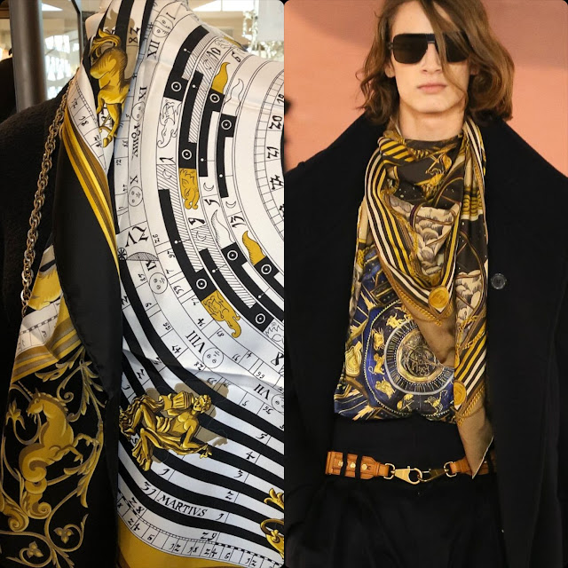 From left to right – Hermes 1990 silk scarf vs Balmain Fall Winter 2020 -2021