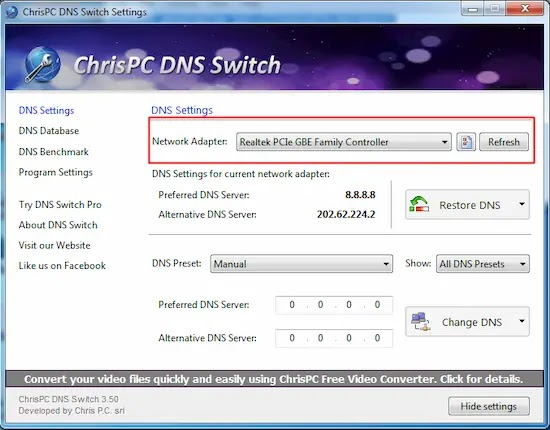 استخدام Chris-PC DNS Switch