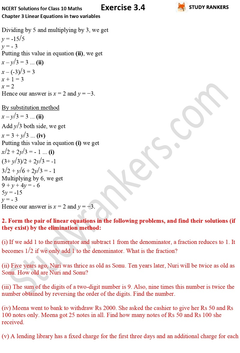 NCERT Solutions for Class 10 Maths Chapter 3 Pair of Linear Equations in Two Variables Exercise 3.4 Part 2NCERT Solutions for Class 10 Maths Chapter 3 Pair of Linear Equations in Two Variables Exercise 3.4 Part 4