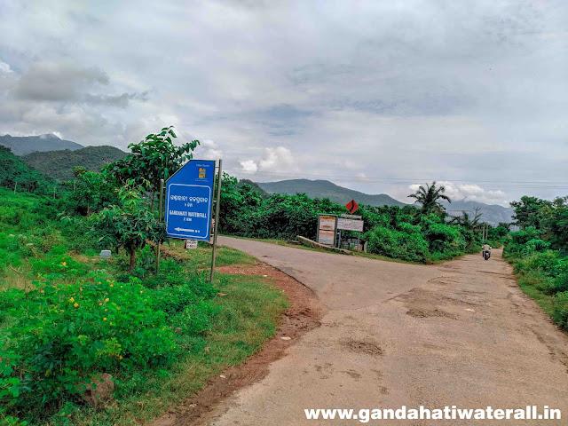 Gandahati waterfalls 2nd direction board at Gandahati Entrance photos