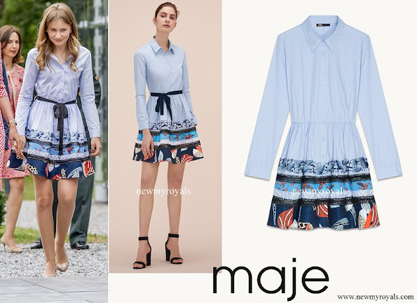 Crown Princess Elisabeth wore MAJE Poplin Shirt Dress