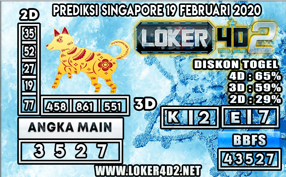PREDIKSI TOGEL SINGAPORE LOKER4D2 19 FEBRUARI 2020