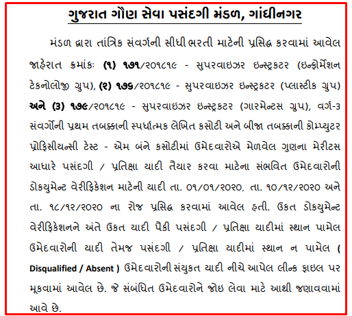 Gujarat Gaun Seva Pasandgi Mandal (GSSSB) Supervisor Instructor Final Result 2020