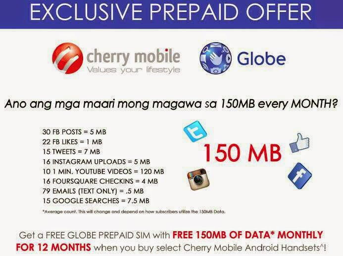 Free 150 MB of mobile net from Globe in select Cherry Mobile