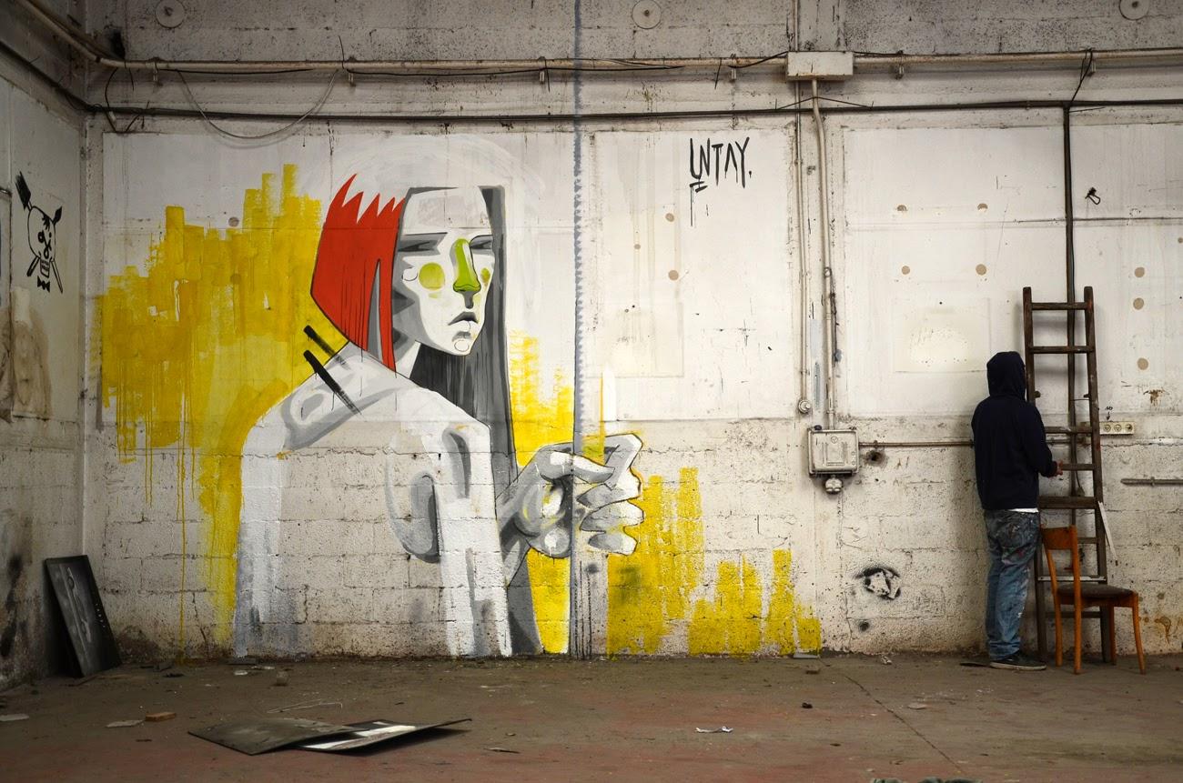 Indoor Street Art By Israeli Street Artist UNTAY somewhere in Tel Aviv, Israel.  1