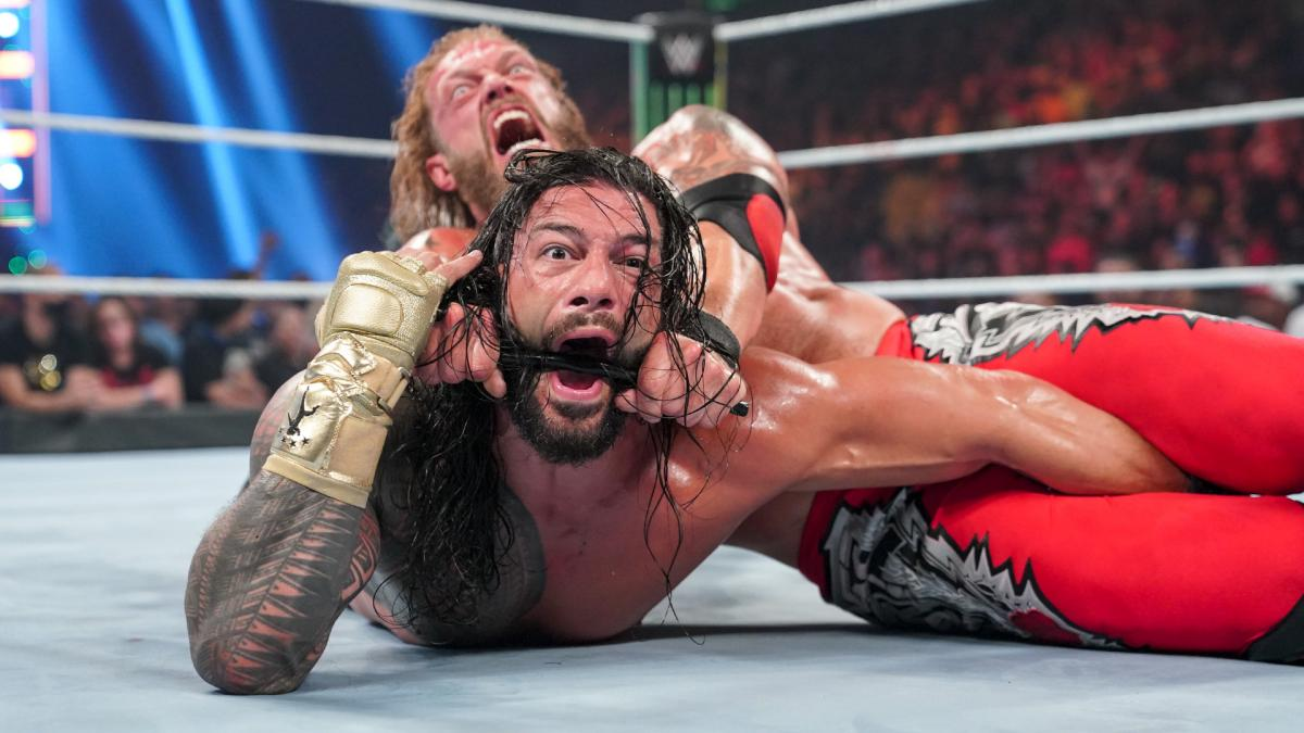 Edge and Roman Reigns at WWE Money in the Bank 2021