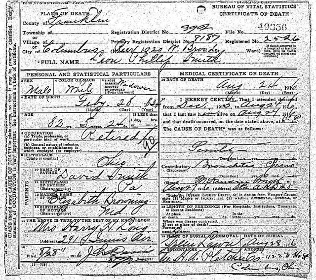 Leon Philip Smith Death Record