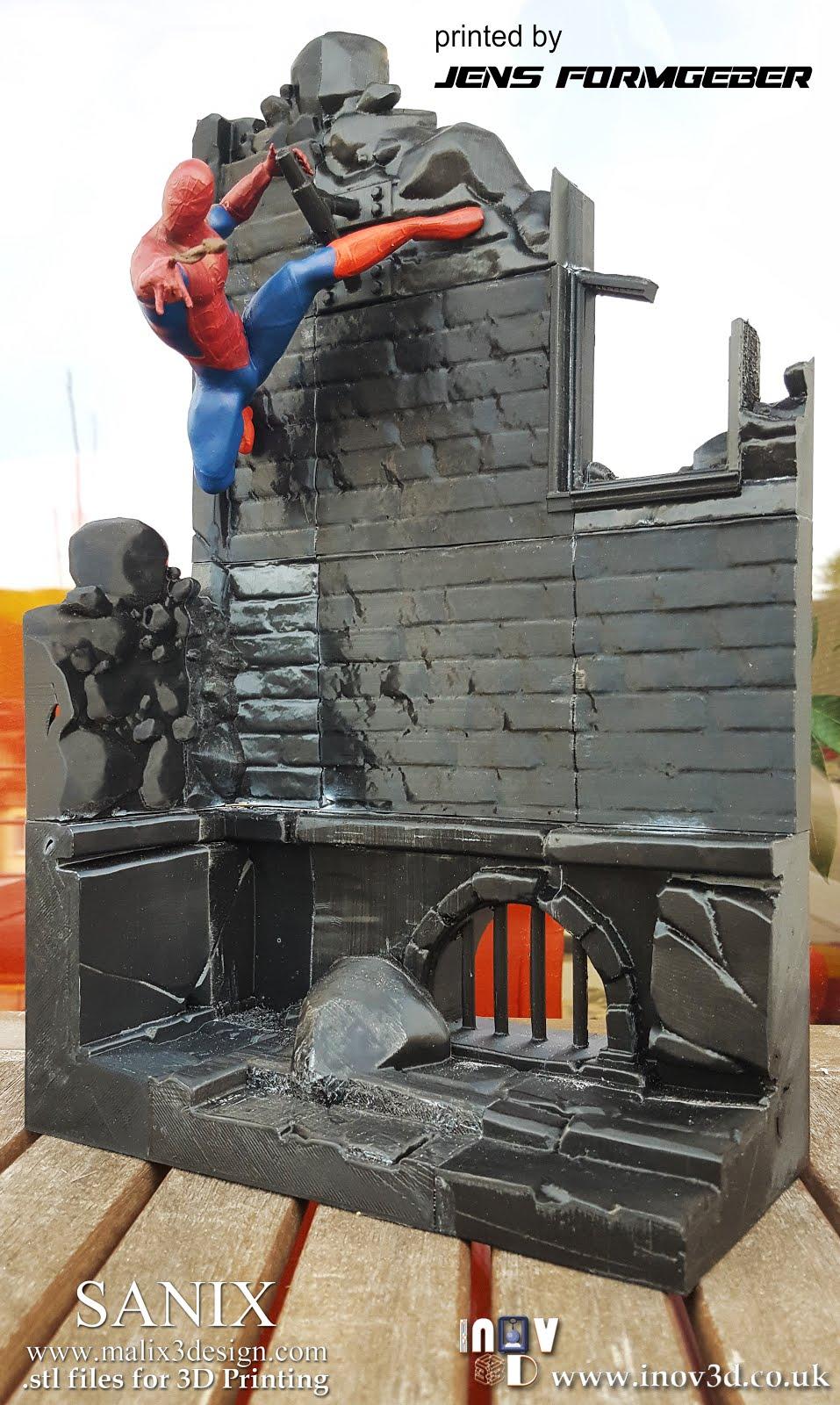 5e246db5a8 Full superheroes scene - Diorama for 3D printing. Five heroes ...