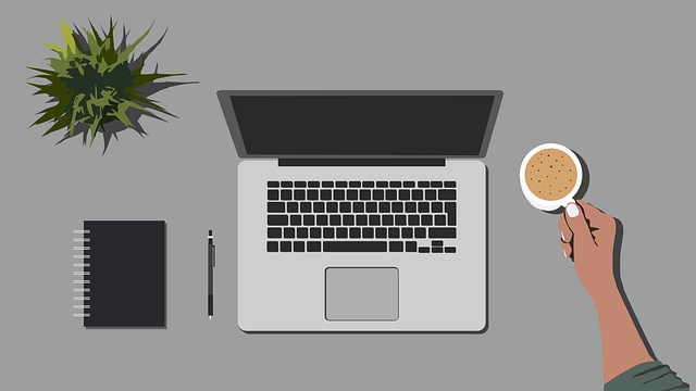 Drawing of desk with plant, notebook, pen, laptop, and a hand gripping a coffee mug