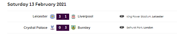 epl latest result