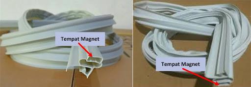 Posisi tempat magnet karet pintu kulkas