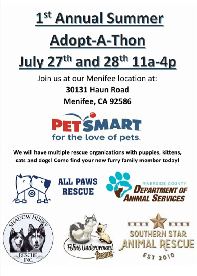 2852185fd41 Pets available for adoption at PetSmart July 27-28   Menifee 24/7