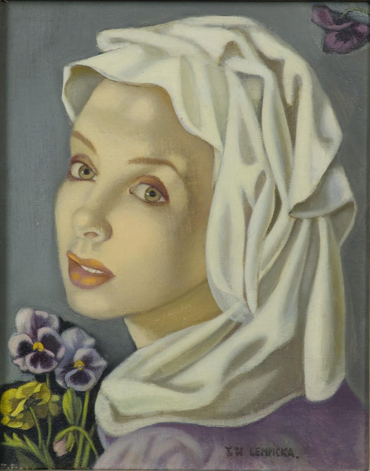 Tamara  de  Lempicka  Ragazza  con  viole  del  pensiero C