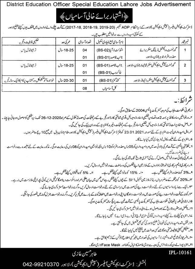 Special Education Lahore Jobs 2020