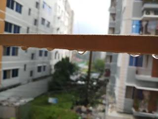 Raindrops from balcony
