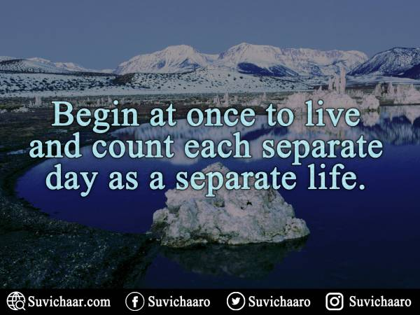 Begin At Once To Live And Count Each Separate Day As A Separate Life.
