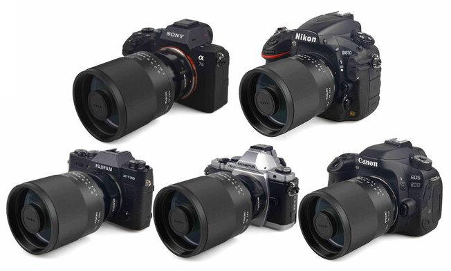 Пять разных камер с объективом Tokina SZX SUPER TELE 400mm f/8 Reflex MF