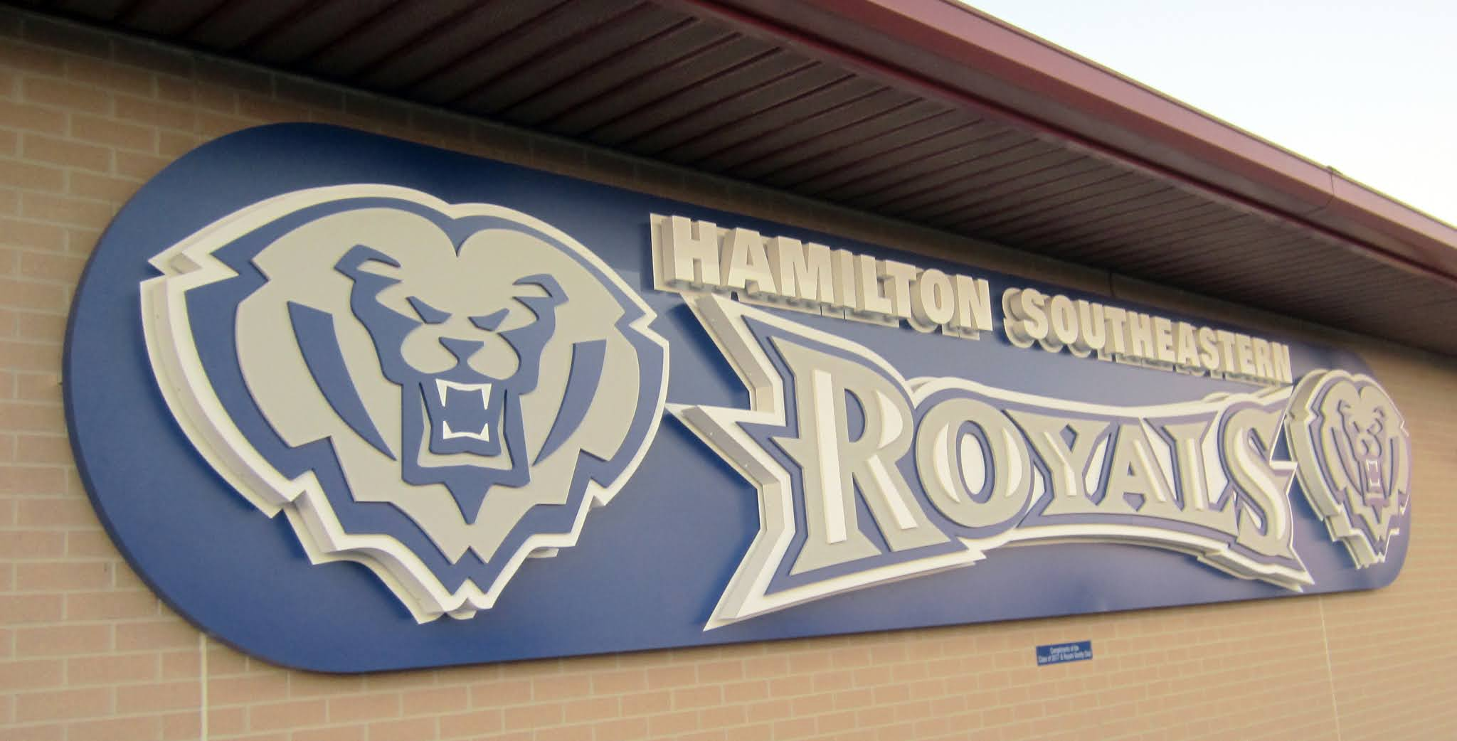 Hamilton Southeastern Royals sign inside Royals Stadium
