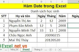 Hàm Date - Hàm trả về biểu thức ngày tháng năm theo định dạng trong Excel