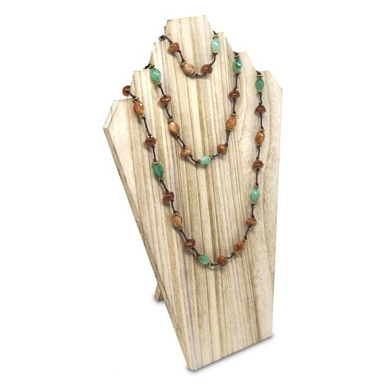 Wooden Jewelry Display Bust with Easel for 3 Necklaces - Oak