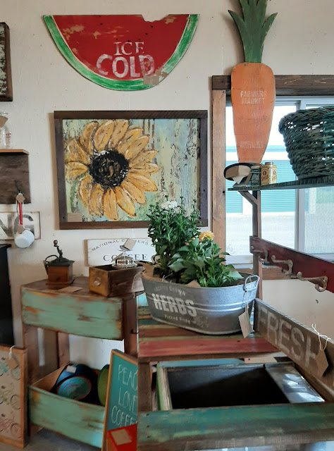 sunflower painting, fruits and vegetables, potting bench