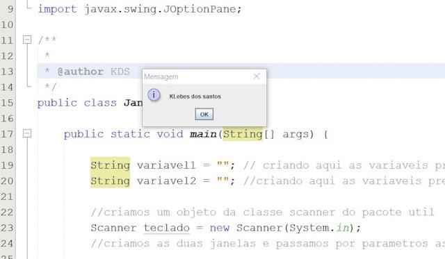 Janela Java com JOptionPane