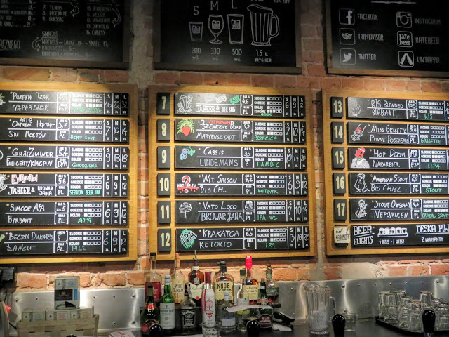 Craft beer menu at JaBeerWocky in Warsaw, Poland