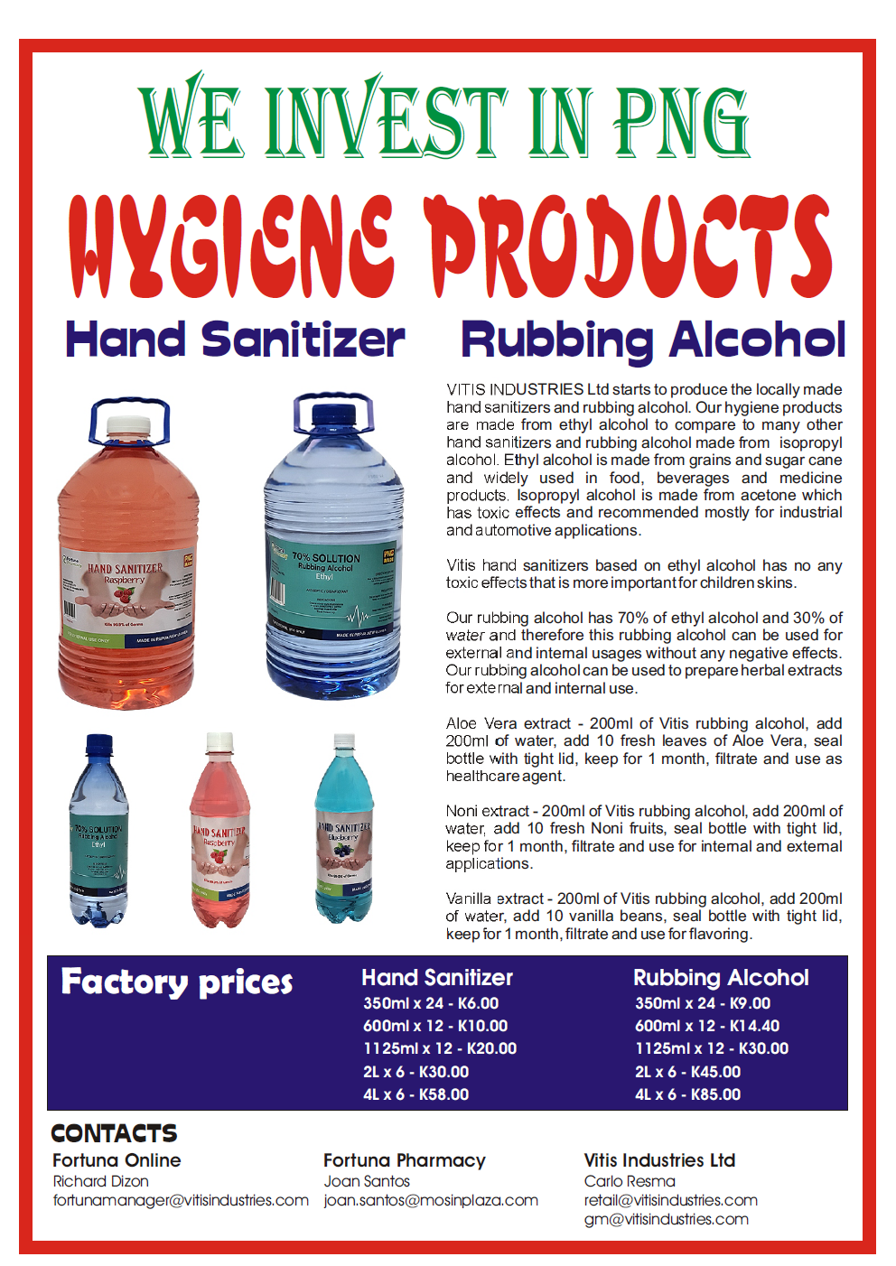 Hygiene Products : Hand Sanitizers and rubbing alcohols