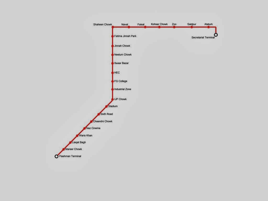Metro Bus Service Project For Rawalpindi And Islamabad Map