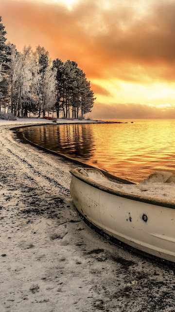 Sunset, Lake, Boat, Clouds, Snow, Landscape
