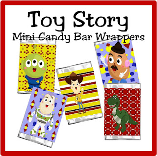 Enjoy a little treat with the whole Toy Story gang with these cute printable mini candy bar wrappers. Featuring Buzz, Woody, and the gang, these wrappers make a great party favor, party treat, or dessert at your Toy Story party or any time you want to sit and play with your food. #diypartymomblog #toystory #candybarwrappers #toystoryparty #miniwrappers
